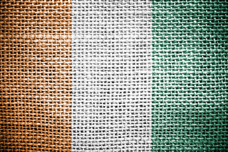 sackcloth: Texture of sackcloth with the image of the Ivory Coast flag