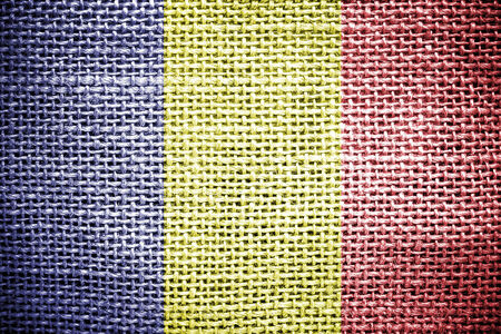 sackcloth: Texture of sackcloth with the image of the Chad flag  Stock Photo