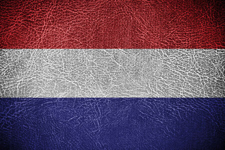 Netherland Flag painted on leather texture photo