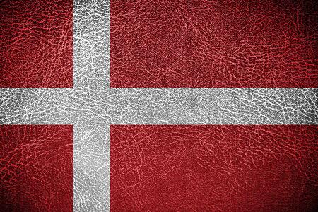 danish flag: Denmark Flag painted on leather texture