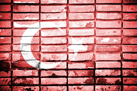 Turkey flag on brick wall  photo