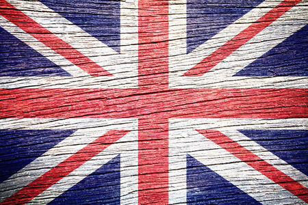 United Kingdom Flag on wood texture background  photo