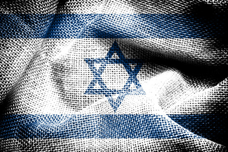 sackcloth: Texture of sackcloth with the image of the Israel flag