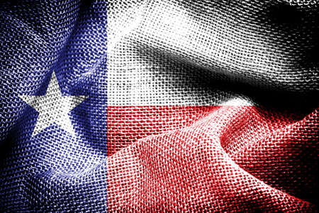 Texture of sackcloth with the image of the Chile Flag   photo