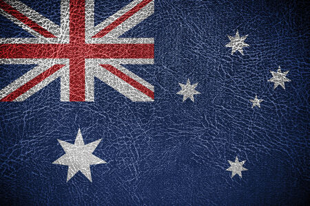 frazzled: Australia Flag painted on leather texture  Stock Photo