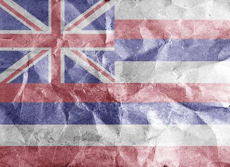 hawaii flag: Hawaii flag painted on crumpled paper