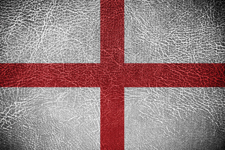 England Flag painted on leather texture  photo