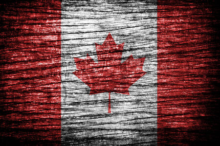 Canada flag painted on old wood texture  photo