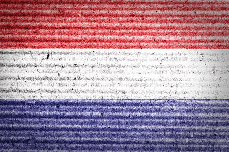 Dutch flag painted on cardboard box  photo