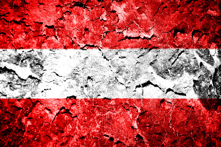 Austria Flag on a concrete wall  photo