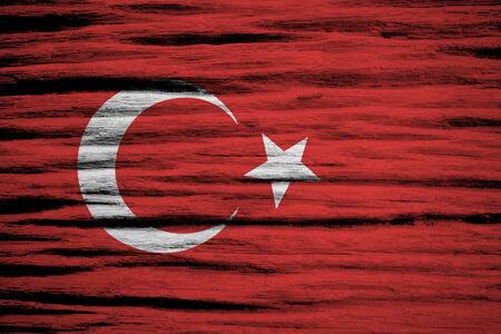 Turkey flag on old wood texture  photo