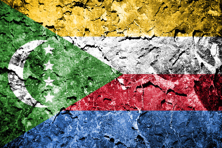 disintegrate: Comoros Flag painted on concrete wall