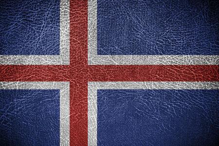 flag of iceland: Bandera de Islandia pintada en textura de cuero Foto de archivo