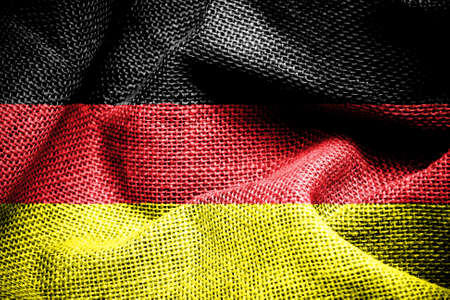 sackcloth: Texture of sackcloth with the image of the Germany flag