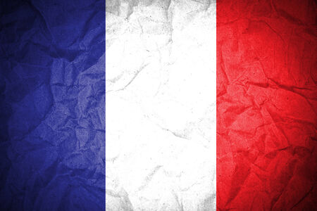French flag of crumpled paper  photo