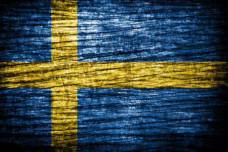 sweden flag painted on old wood texture  Stock Photo