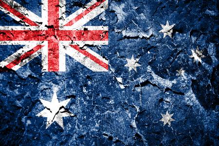 De Australische vlag geschilderd op grunge muur Stockfoto