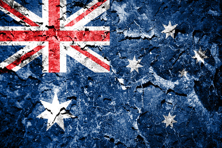 The Australian flag painted on grunge wall