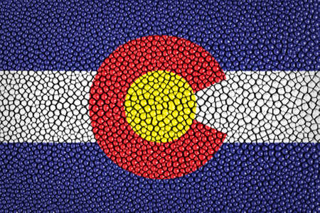 Colorado flag painted on leather texture  photo