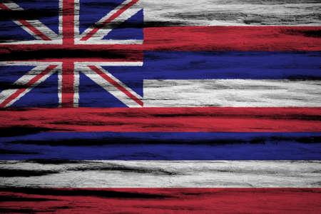 hawaii flag: Hawaii Flag painted on old wood background  Stock Photo