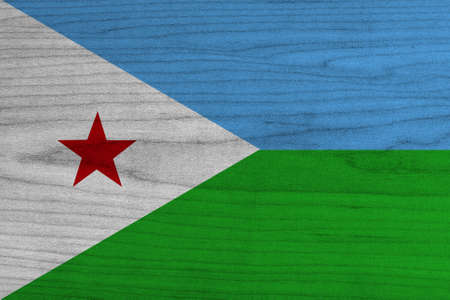 Djibouti Flag on wood background  Stock Photo
