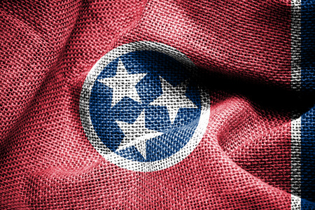 sackcloth: Texture of sackcloth with the image of the Tennessee flag  Stock Photo