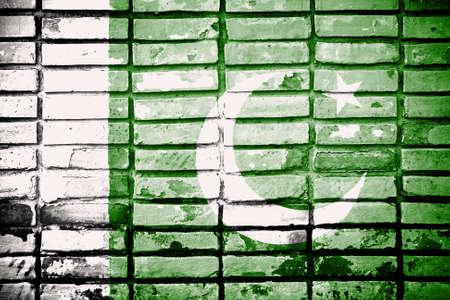 pakistan flag: Pakistan Flag painted on brick wall