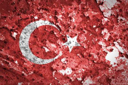 Turkey Flag painted on concrete wall  photo