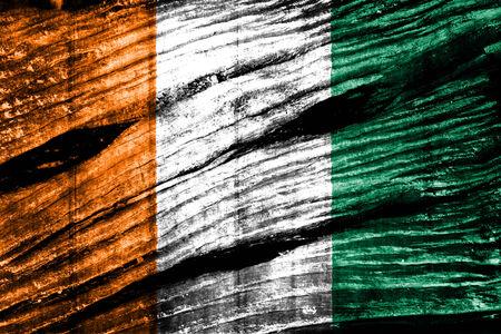 cote d ivoire: Ivory Coast Flag on old wood background