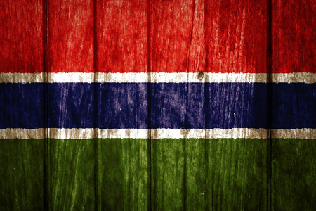 The Gambia Flag painted on wood background