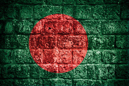 Bangladesh flag painted on old brick wall  photo