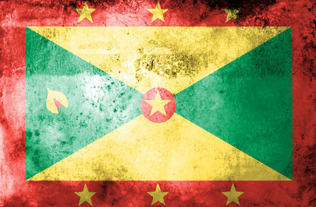 Grunge Grenada Flag on vintage paper  photo