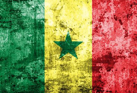 Senegal Flag on old paper  photo