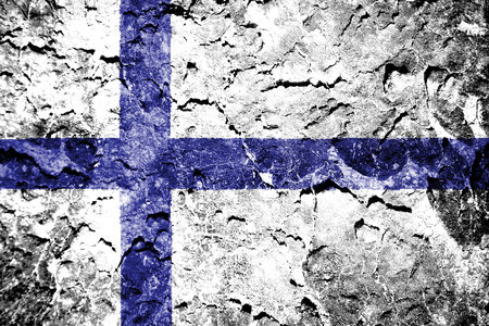 bandera de finlandia: Finlandia bandera pintada en la pared del grunge