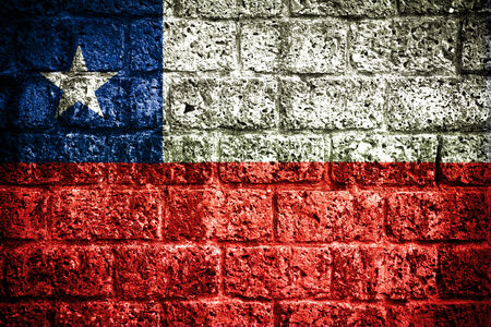 proportional: Chile Flag painted on brick wall