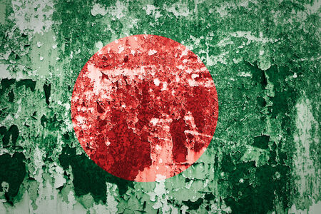 Bangladesh flag on grunge wall photo
