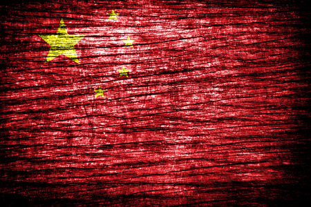 China flag painted on old wood background  photo