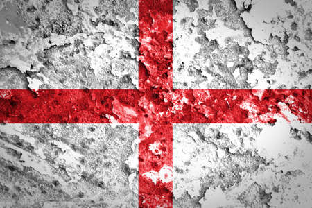 england flag: Grungy England Flag painted on concrete wall