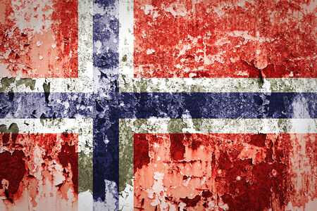 Norwegian flag painted on grunge wall  photo