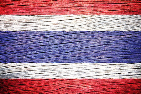 Thailand Flag painted on wood texture  photo