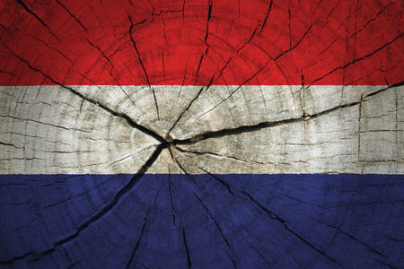 Netherland flag painted on old wood background  photo