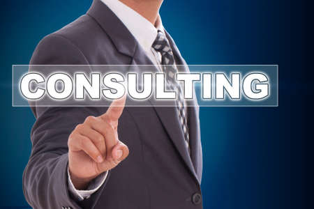 Businessman hand touching consulting on screen