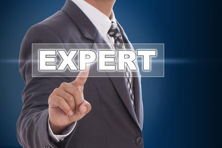 Businessman hand touching expert on screen