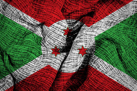 sackcloth: Texture of sackcloth with the image of Burundi flag