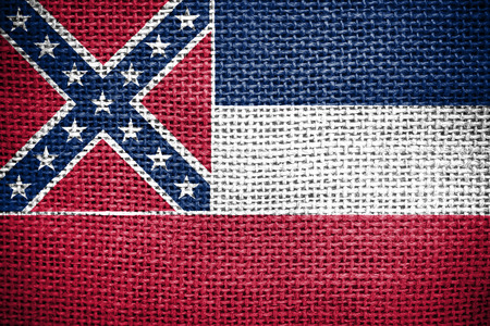 sackcloth: Texture of sackcloth with the image of the Mississippi flag