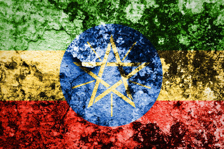 ethiopia abstract: Ethiopia Flag painted on grunge wall