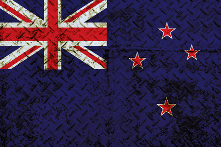 New Zealand flag painted on steel wall  photo