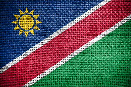 sackcloth: Texture of sackcloth with the image of Namibia flag  Stock Photo