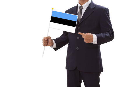 Businessman in suit holding of Estronia Flag  photo