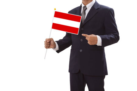 Businessman in suit holding of Austria Flag  photo